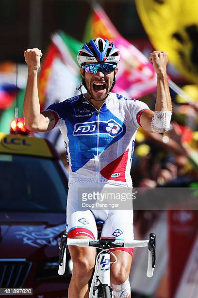 Thibaut Pinot of France and FDJ celebrates winning the twentieth stage of the 2015 Tour de France, a 110.5 km stage between Modane Valfrejus and...