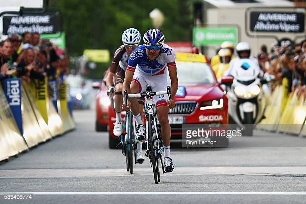 Thibaut Pinot of France and FDJ outsprints compatriot Romain Bardet of AG2R La Mondiale to win stage six of the 2016 Criterium du Dauphine a 141km...