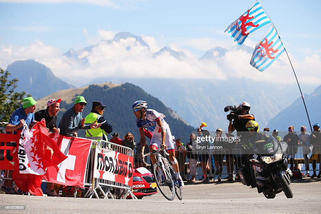 Thibaut Pinot of France and FDJ rides up the Alpe d'Huez on his way to winning the twentieth stage of the 2015 Tour de France, a 110.5 km stage between Modane Valfrejus and L'Alpe d'Huez on July 25, 2015 in L'Alpe d'Huez, France.