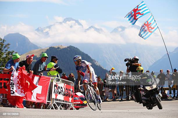 Thibaut Pinot of France and FDJ rides up the Alpe d'Huez on his way to winning the twentieth stage of the 2015 Tour de France a 1105 km stage between...