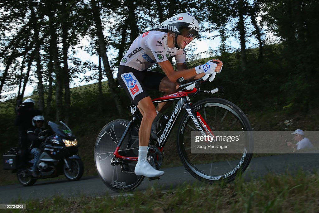 Thibaut Pinot of France and FDJ.fr races to 12th place in the individual time trial as he defended the best young rider's white jersey during the twentieth stage of the 2014 Tour de France, a 54km individual time trial stage between Bergerac and Perigueux, on July 26, 2014 in Perigueux, France.