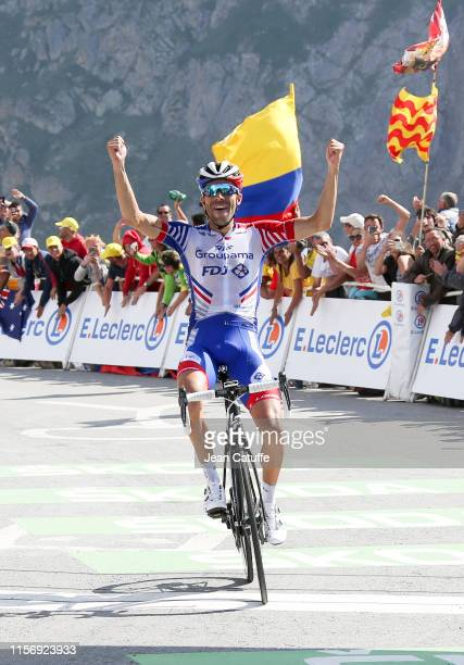 Thibaut Pinot of France and Groupama-FDJ celebrates winning stage 14 of the 106th Tour de France 2019, a stage from Tarbes to Col du Tourmalet...
