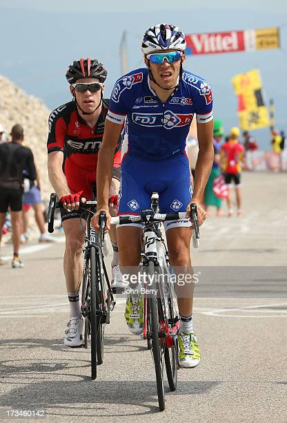 Thibaut Pinot of France and Team FDJfr Brent Bookwalter of the USA and BMC Racing Team in action during stage fifteen of the 2013 Tour de France a...
