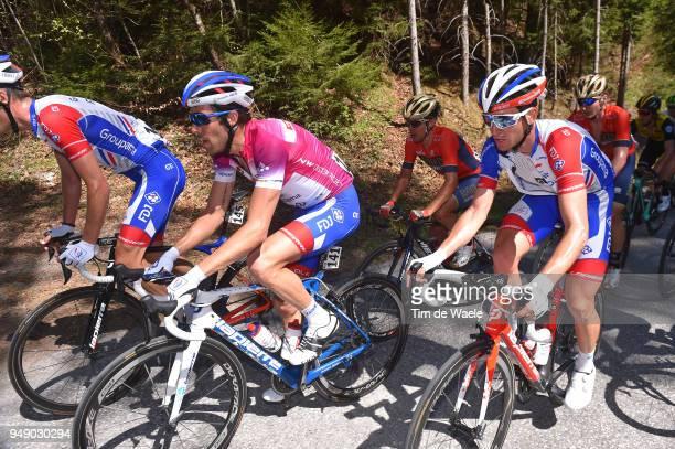 Thibaut Pinot of France and Team Groupama FDJ Purple leaders jersey / Sebastien Reichenbach of Switzerland and Team Groupama FDJ / during the 42nd...