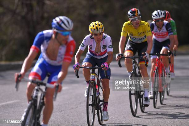 Thibaut Pinot of France and Team Groupama - FDJ / Sergio Andres Higuita of Colombia and Team Ef Education First White Best Young Jersey / Maximilian...