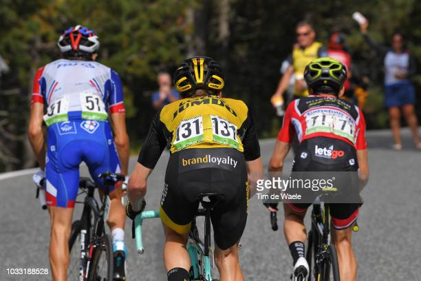 Thibaut Pinot of France and Team Groupama FDJ / Steven Kruijswijk of The Netherlands and Team LottoNL Jumbo / Simon Yates of Great Britain and Team...