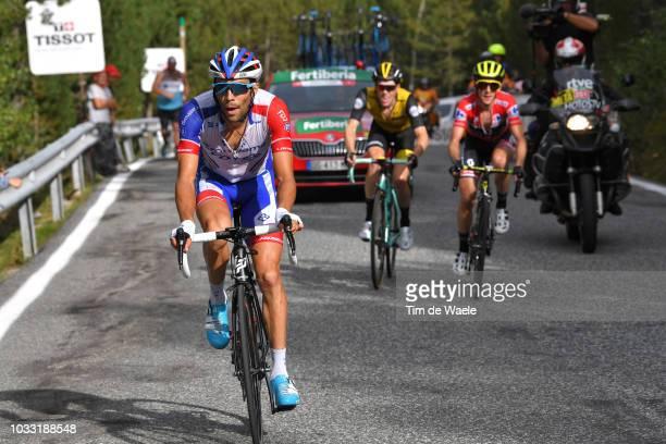 Thibaut Pinot of France and Team Groupama FDJ / Steven Kruijswijk of The Netherlands and Team LottoNL - Jumbo / Simon Yates of Great Britain and Team...