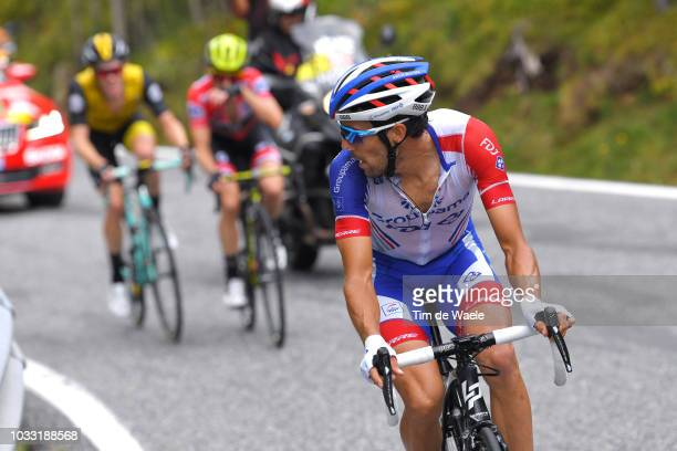 Thibaut Pinot of France and Team Groupama FDJ / Steven Kruijswijk of The Netherlands and Team LottoNL - Jumbo / Simon Yates of Great Britain and Team...
