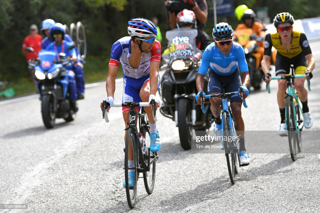 Thibaut Pinot of France and Team Groupama FDJ / Steven Kruijswijk of The Netherlands and Team LottoNL - Jumbo / Nairo Quintana of Colombia and Movistar Team / during the 73rd Tour of Spain 2018, Stage 19 a 154,4km stage from Lleida to Naturlandia - Coll De La Rabassa 2025m / La Vuelta / on September 14, 2018 in Naturlandia - Coll De La Rabassa, Andorra.