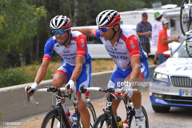 Thibaut Pinot of France and Team Groupama-FDJ Abandon/pull out of the race / Disappointment / William Bonnet of France and Team Groupama-FDJ / during...