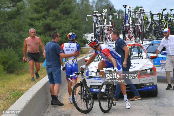 Thibaut Pinot of France and Team Groupama-FDJ Abandon/pull out of the race / William Bonnet of France and Team Groupama-FDJ / during the 106th Tour...