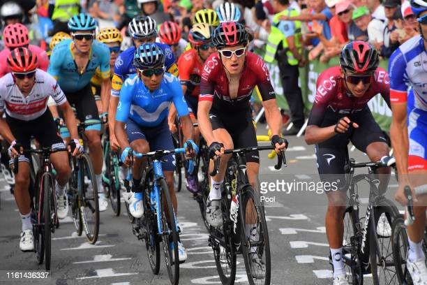 Thibaut Pinot of France and Team Groupama-FDJ / Egan Bernal of Colombia and Team INEOS / Geraint Thomas of United Kingdom and Team INEOS / Nairo...
