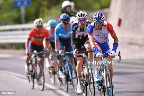 Thibaut Pinot of France and Team Groupama-FDJ / Tom Dumoulin of The Netherlands and Team Sunweb / Richard Carapaz of Ecuador and Movistar Team /...