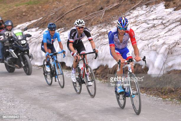 Thibaut Pinot of France and Team GroupamaFDJ / Tom Dumoulin of The Netherlands and Team Sunweb / Richard Carapaz of Ecuador and Movistar Team /...