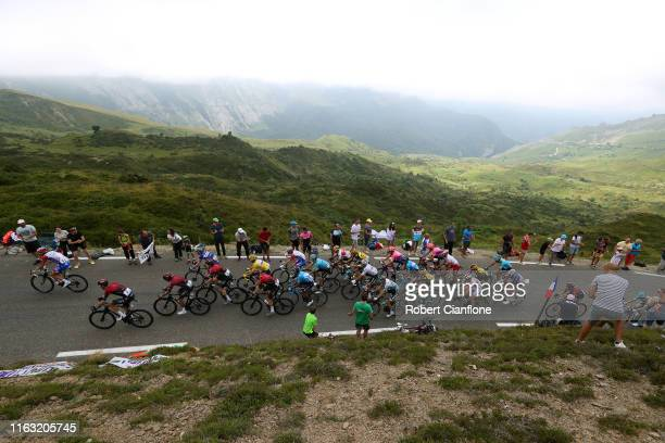 Thibaut Pinot of France and Team GroupamaFDJ / Wout Poels of The Netherlands and Team INEOS / Egan Bernal of Colombia and Team INEOS / Geraint Thomas...