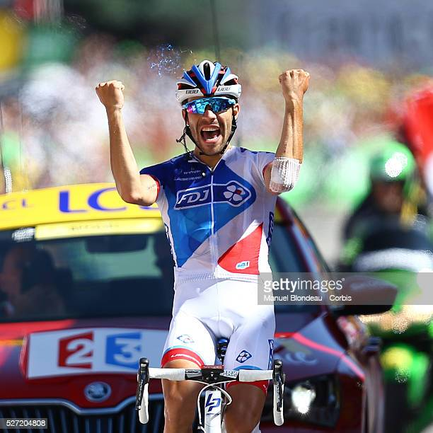 Thibaut Pinot of France riding for FDJ celebrates as he crosses the finish line during the 2015 Tour of France Stage 20 Modane Alpe D'Huez on July 25...