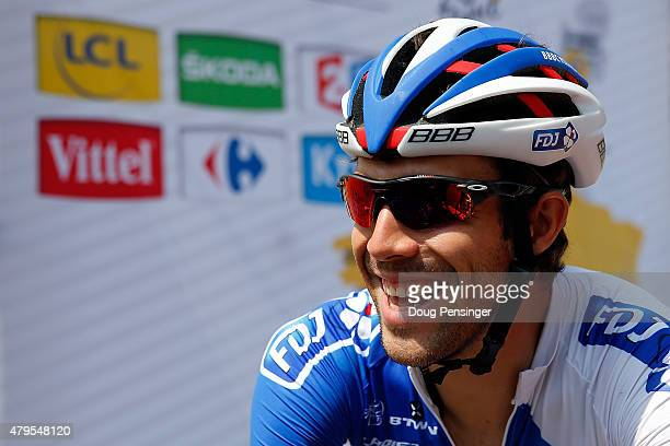 Thibaut Pinot of France riding for FDJ prepares for the start of stage two of the 2015 Tour de France from Utrecht to Zelande on July 5 2015 in...