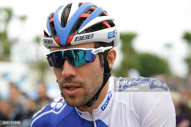 Thibaut Pinot of France riding for FDJ talks with the media before stage four of the 2016 Le Tour de France a 2375km stage from Saumur to Limoges on...