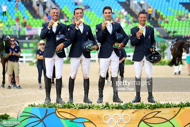 Thibaut Valette Astier NICOLAS Karim Florent Laghouag Mathieu Lemoine of France during equestrian event on Olympic Games 2016 in Rioat Olympic...