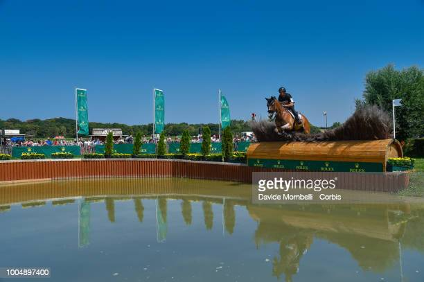 Thibaut Valette of France riding Qing du Briot Ene HN during the obstacle in the water of the Cross Country test DHLPrize in the park of the CHIO of...