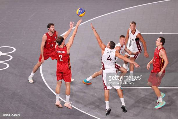 Thibaut Vervoort of Team Belgium shoots during the Men's Pool Round match between Latvia and Belgium on day one of the Tokyo 2020 Olympic Games at...