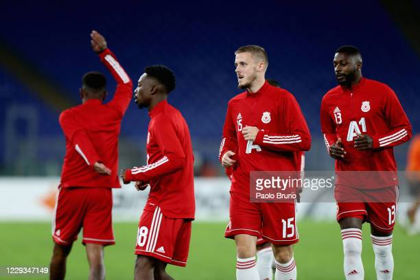 Thibaut Vion with his teammates of CSKA-Sofia in action during the warm up before the UEFA Europa League Group A stage match between AS Roma and...