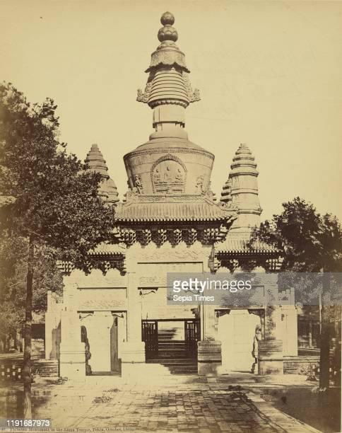 Thibetan Monument in the Lama Temple, Pekin, Felice Beato , October 1860, Albumen silver print, 29.2 x 23.1 cm
