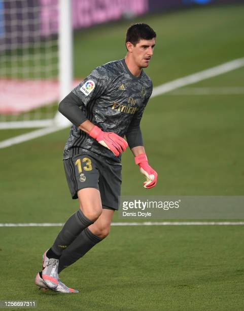 Thibout Courtois of Real Madrid in action during the Liga match between Real Madrid CF and Villarreal CF at Estadio Alfredo Di Stefano on July 16...