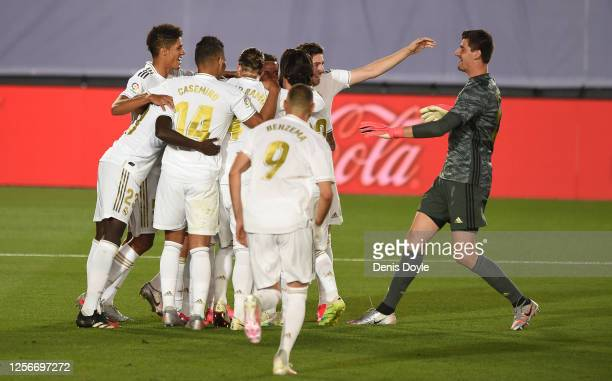 Thibout Courtois of Real Madrid joins in the celebrations after Real scored their 3rd goal which was later disallowed by VAR during the Liga match...