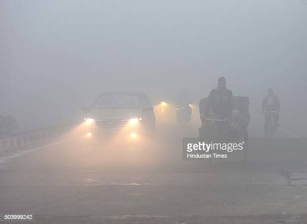 A thick blanket of fog hit the city on January 8 2016 in New Delhi India Dense fog blanketed many areas in and around Delhi this morning with poor...