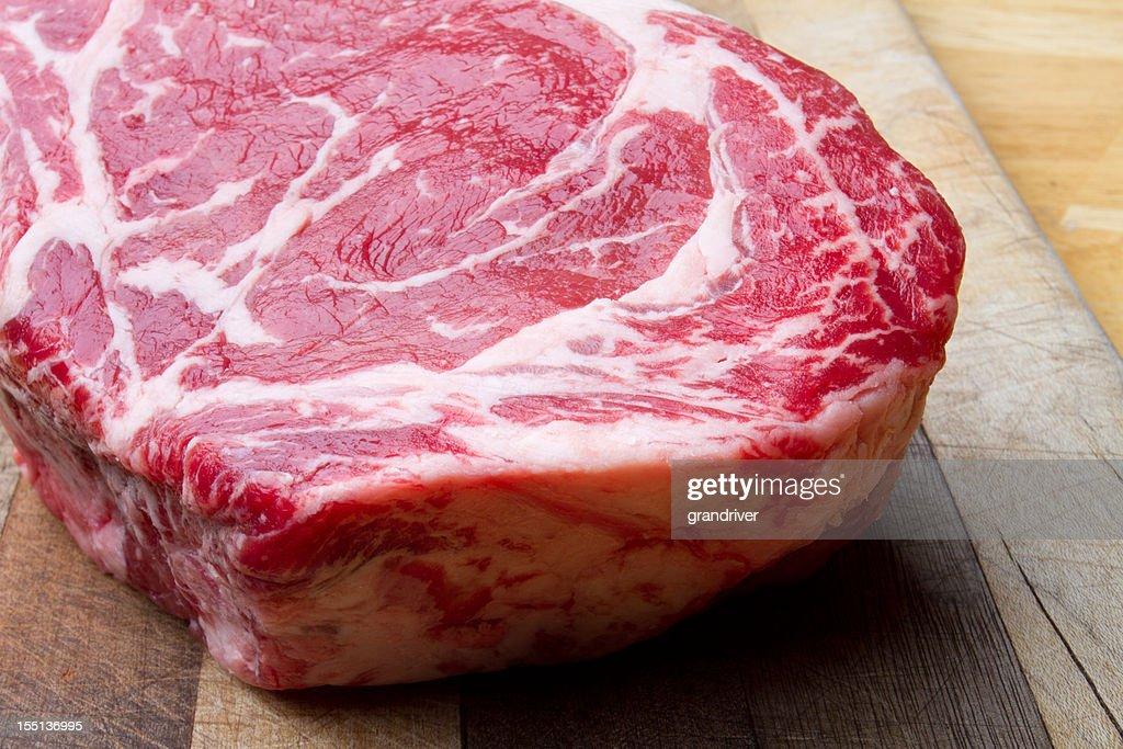 Thick Bone-In Rib Eye Steak : Stock Photo
