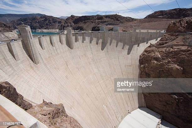 thick concrete dam - hoover dam stock photos and pictures