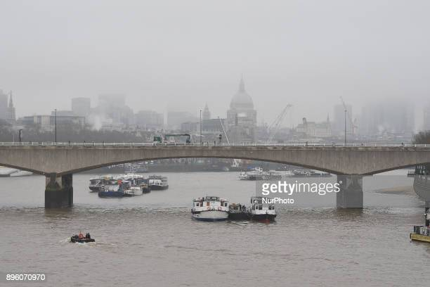 Thick fog hangs low over St Paul's Cathedral and the City of London' skyline London on December 20 2017 Forecasters have warned of likely travel...