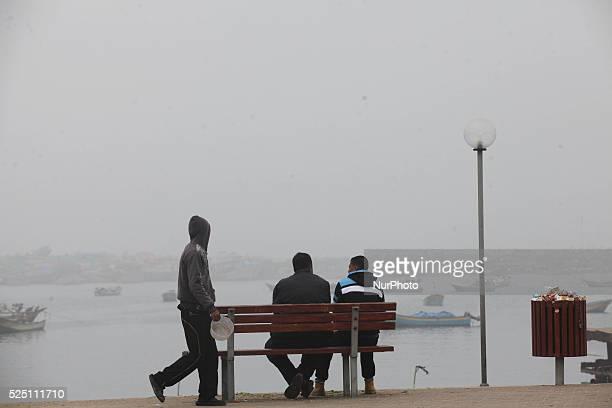 Thick fog surrounds Gaza port morning 25 January 2015