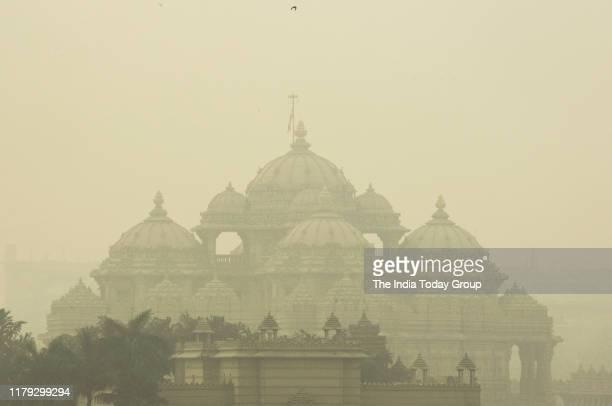 Thick Smog engulfs the Akshardham temple in New Delhi on October 30 2019