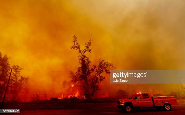 Thick smoke billows along Foothill Boulevard as the Creek Fire burns heavy brush in Sylmar on Tuesday Dec 5 2017 The fire started at about 342 am in...