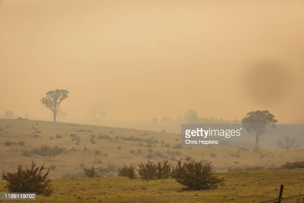 Thick smoke from the East Gippsland bushfires still covers areas of the region on January 13, 2020 near Sarsfield, Australia. The death toll from...