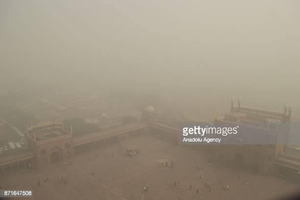 A thick toxic smog covers India's capital as air pollution hit the record level hazardous in Delhi India on November 08 2017