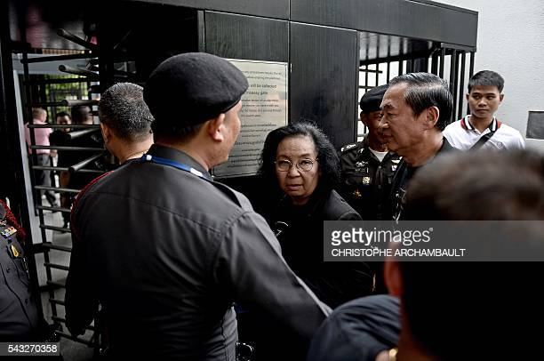 Thida Thavornseth a leader of Thailand's prodemocracy 'Red Shirt' street movement walks into the British Embassy in Bangkok on June 27 2016 Activists...
