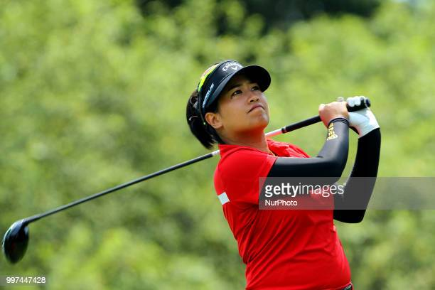 Thidapa Suwannapura hits from the 7th tee during the first round of the Marathon LPGA Classic golf tournament at Highland Meadows Golf Club in...