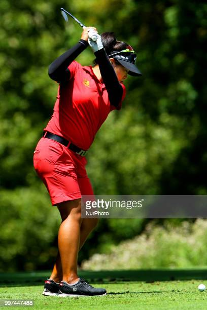 Thidapa Suwannapura of Thailand hits from the 2nd tee during the first round of the Marathon LPGA Classic golf tournament at Highland Meadows Golf...