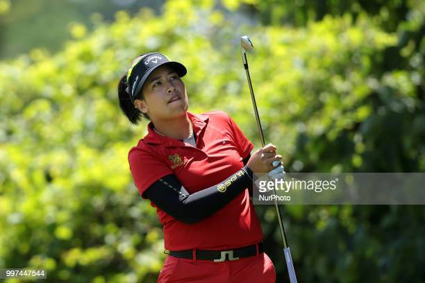 Thidapa Suwannapura of Thailand tees off on the second tee during the first round of the Marathon LPGA Classic golf tournament at Highland Meadows...