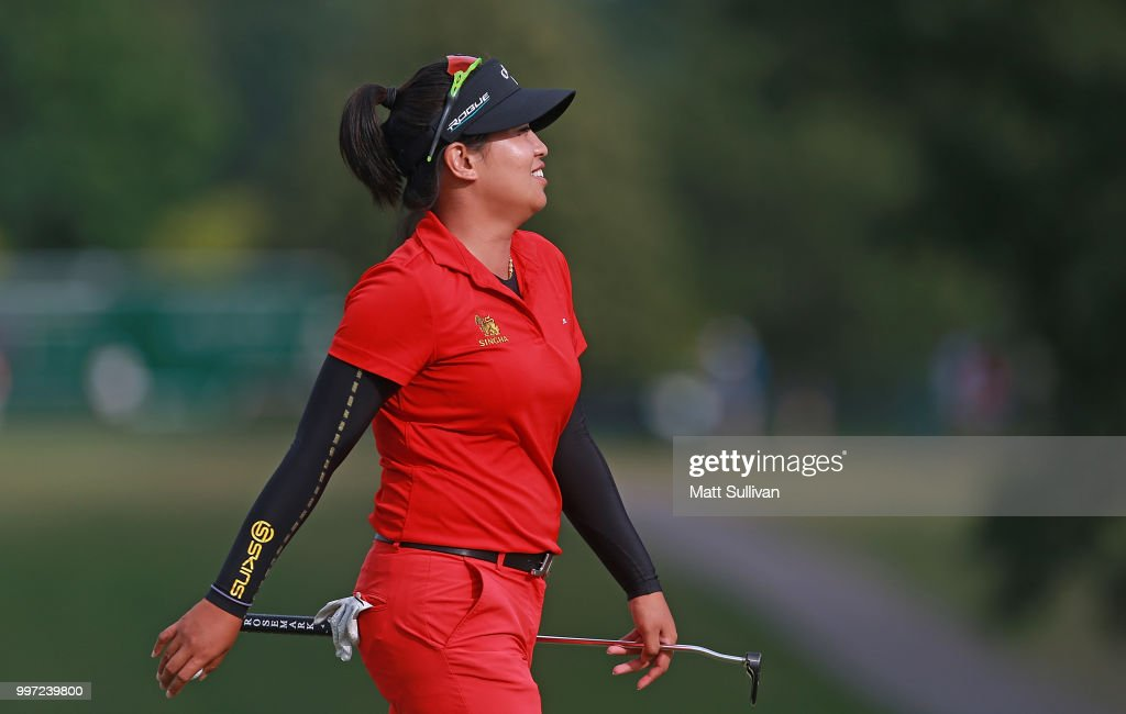 Thidapa Suwannapura of Thailand walks off the green after making a birdie on the 18th hole during the first round of the Marathon Classic Presented By Owens Corning And O-I on July 12, 2018 in Sylvania, Ohio.