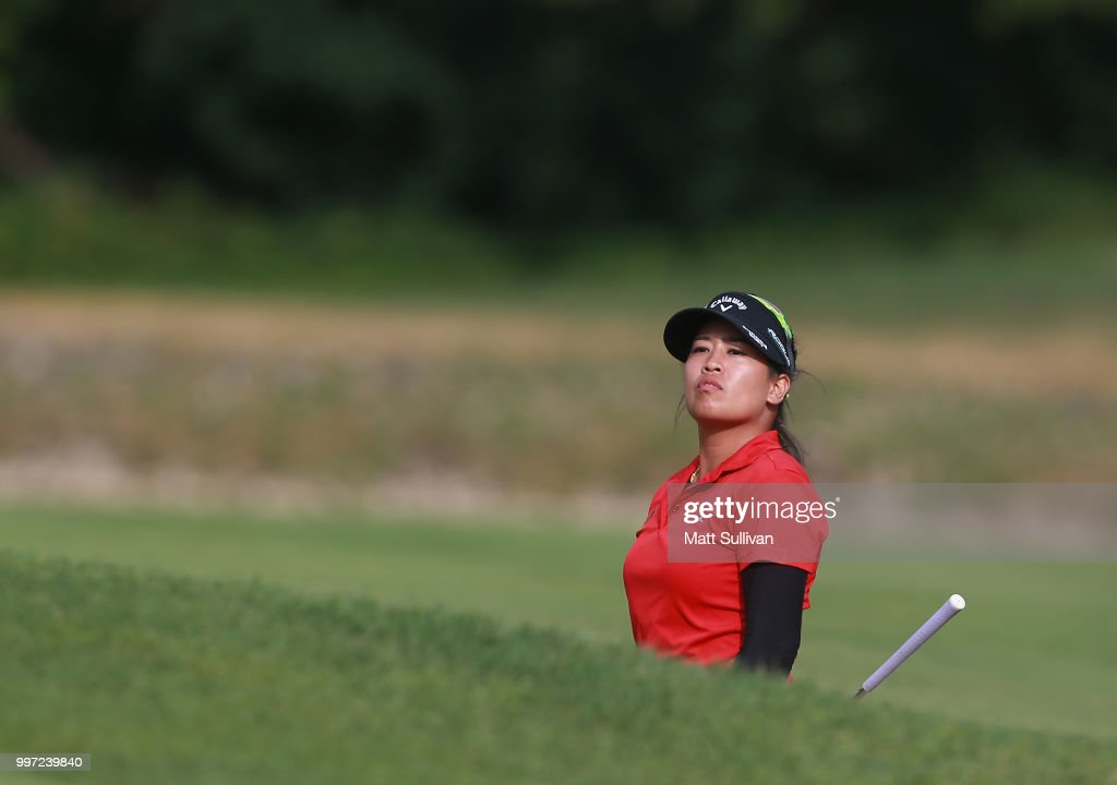 Thidapa Suwannapura of Thailand watches her third shot on the 18th hole during the first round of the Marathon Classic Presented By Owens Corning And O-I on July 12, 2018 in Sylvania, Ohio.