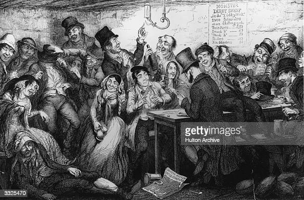 A thief gambles away his ill gotten gains at a Gin Palace 'The Drunkard's Children' by Cruikshank 'Between the fine fearing Gin Palace and the low...