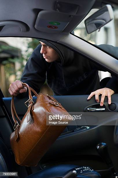 A thief stealing a bag out of a car