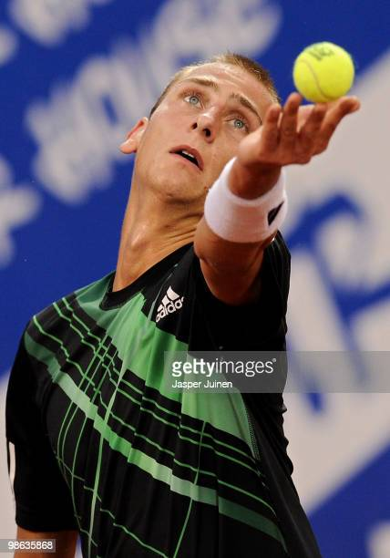 Thiemo de Bakker of The Netherlands serves the ball to JoWilfried Tsonga of France during the quarter final match on day five of the ATP 500 World...