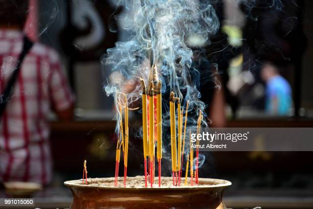 thien hau pagoda in saigon - incense stock photos and pictures