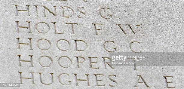 Thiepval, France - May 20 - British Family members came to leave a wreath in honour of an Uncle who died at the Somme. The missing soldier is...
