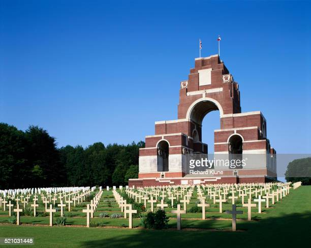 thiepval memorial and war cemetery in france - thiepval stock pictures, royalty-free photos & images